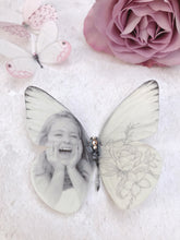 Silk Butterfly personalised with the image of your choice by Flutter Designs, with a floral finish