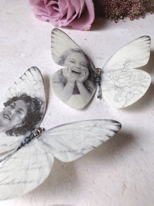 Personalised Memory Butterflies, hand cut from silk and finished with Swarovski Crystals