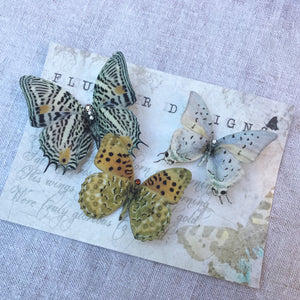 Silk Butterfly Hair Clips - Set of 3