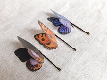 Set of Three Silk Butterfly Hair Pins - Purple & Orange