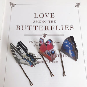 Set of Three Silk Butterfly Hair Pins - British Butterflies
