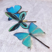 Set of Three Silk Butterfly Hair Pins - Turquoise Blues
