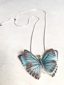 Something blue silk butterfly necklace