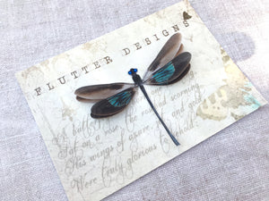 Handmade silk dragonfly hair clip with swarovski crystals by Flutter Designs