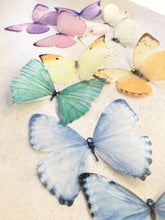 Silk pastel butterfly embellishments with swarovski Crystals by Flutter Designs