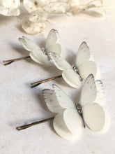 Silk butterfly hair pins with Swarovski Crystals