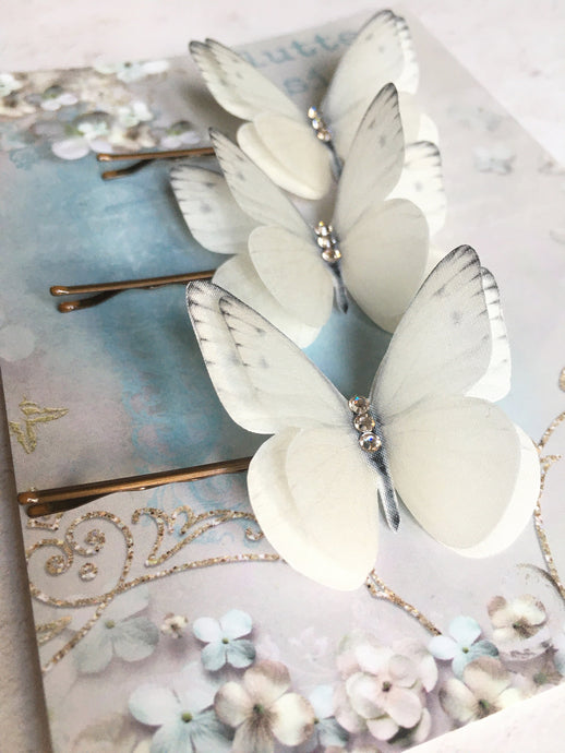 Trio of bridal butterfly hair pins in silk