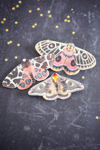 Handmade silk moth hair clips by Flutter Designs