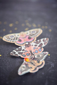 Handmade silk moth hair clips with Swarovski Crystals