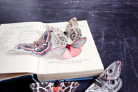 A selection of silk moth hair clips by Flutter Designs on a vintage book