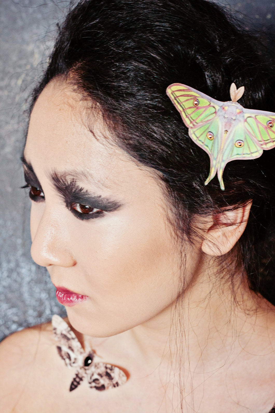 Gothic model wearing Spanish Moon Moth hair Clip
