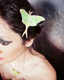 Model wearing a handmade Luna Moth hair clip with Swarovski Crystals