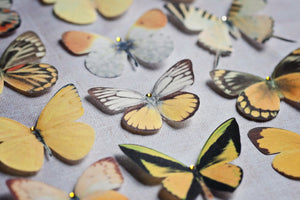 Yellow silk butterfly hair clips handmade by Flutter Designs