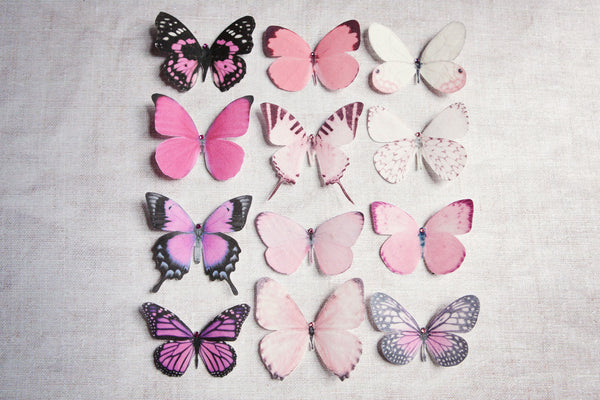 Silk Butterfly hair clips - Set of 5