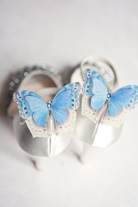 Blue Silk Butterfly shoe Clips with Swarovski Crystals