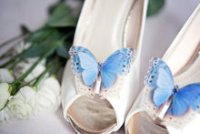 Wedding shoes with blue silk butterfly shoe clips by Flutter Designs