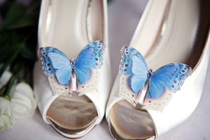 Open toe wedding shoes with something blue silk butterfly shoe clips