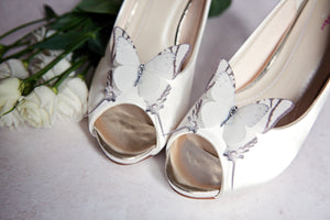 Silk Butterfly Shoe Clips with Swarovski Crystals