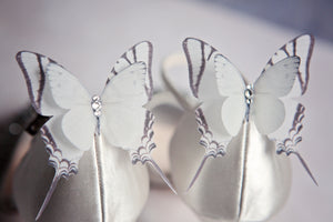 Sparkling bridal silk butterfly shoe clips