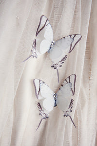 Close up detail of Flutter Designs silk butterfly shoe clips