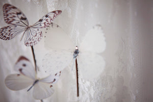Bridal silk butterfly hair pins with Swarovski Crystals