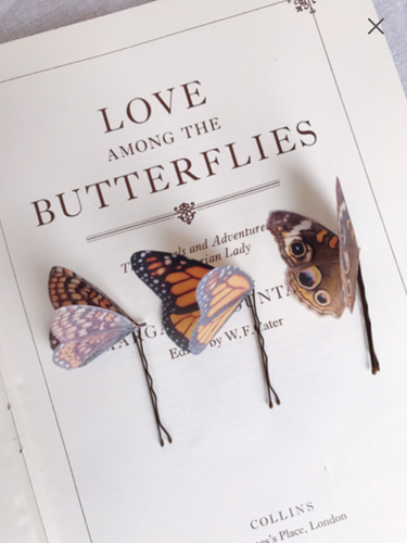 Set of Three Silk Butterfly Hair Pins - Monarch Browns