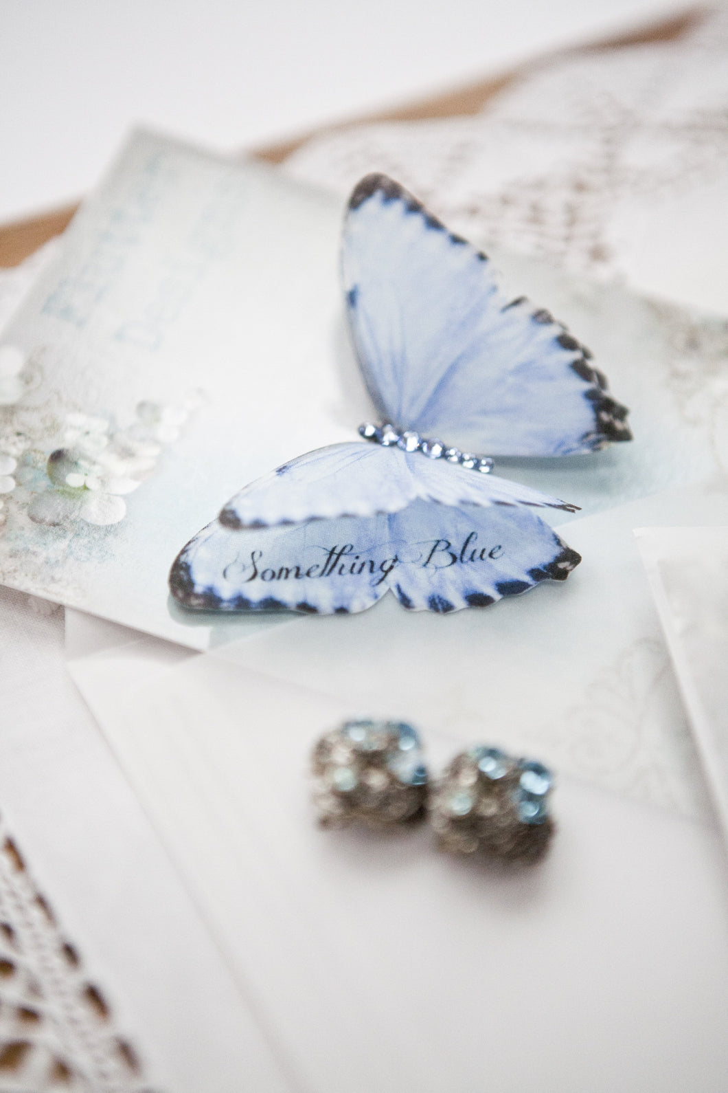 Silk Butterfly with words Something Blue on the wing