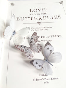 ivory silk butterfly hair pins with Swarovski crystals