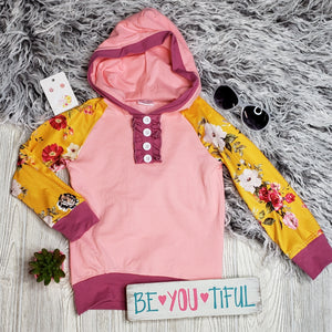 Pink and Yellow Floral Hoodie