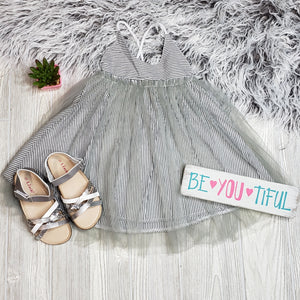Grey Striped Tulle Dress