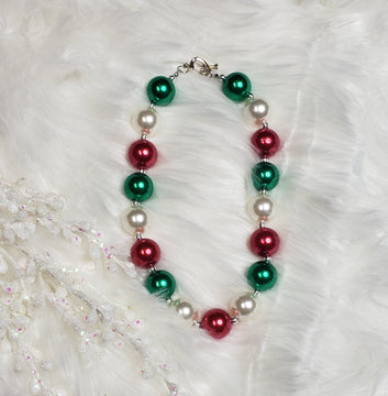 Red, White, and Green Bubblegum Necklace
