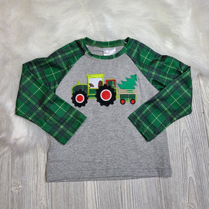 Plaid Tractor and Tree Tee