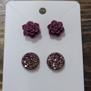 Wine Succulent and Druzy Set