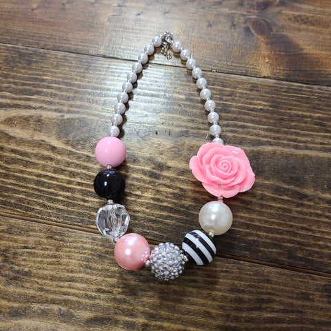 Black and Pink Rose Bubblegum Necklace