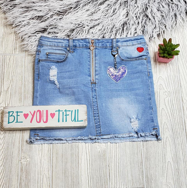 Distressed Sweet Heart Denim Skirt
