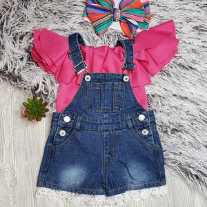 Lace Trim Denim Short Overalls