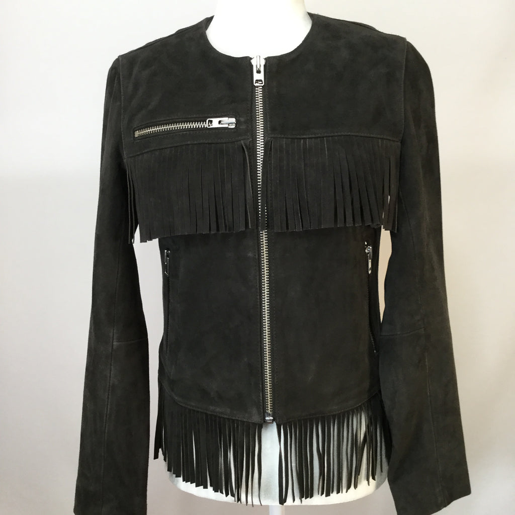 Top Shop Fringe Coat  SIZE:4
