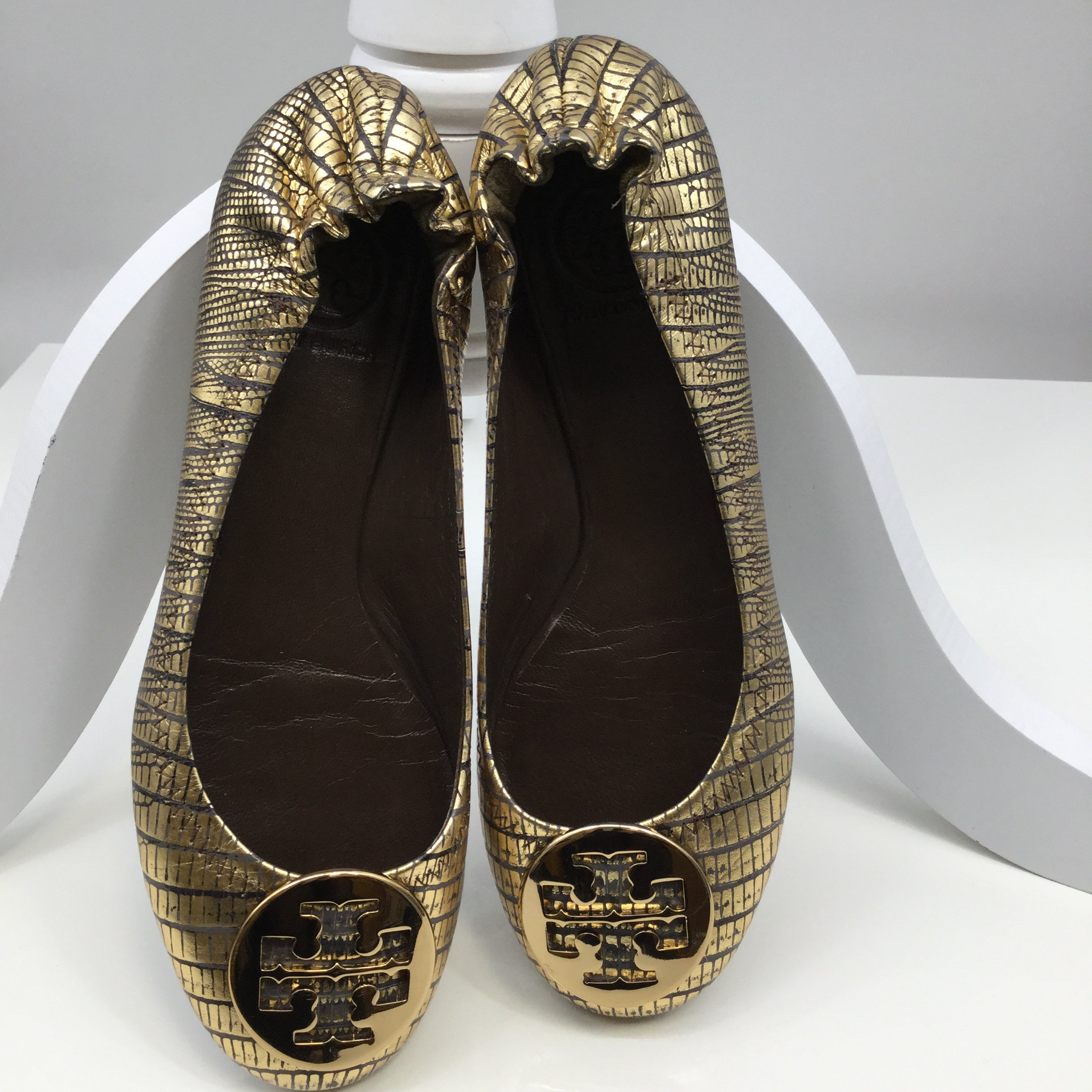 Tory Burch Shoes Flats Size:6.5 - GENTLY WORN TORY BURCH GOLD AND TAUPE FLATS. SIZE 6.5. SNAKESKIN PATTERN.