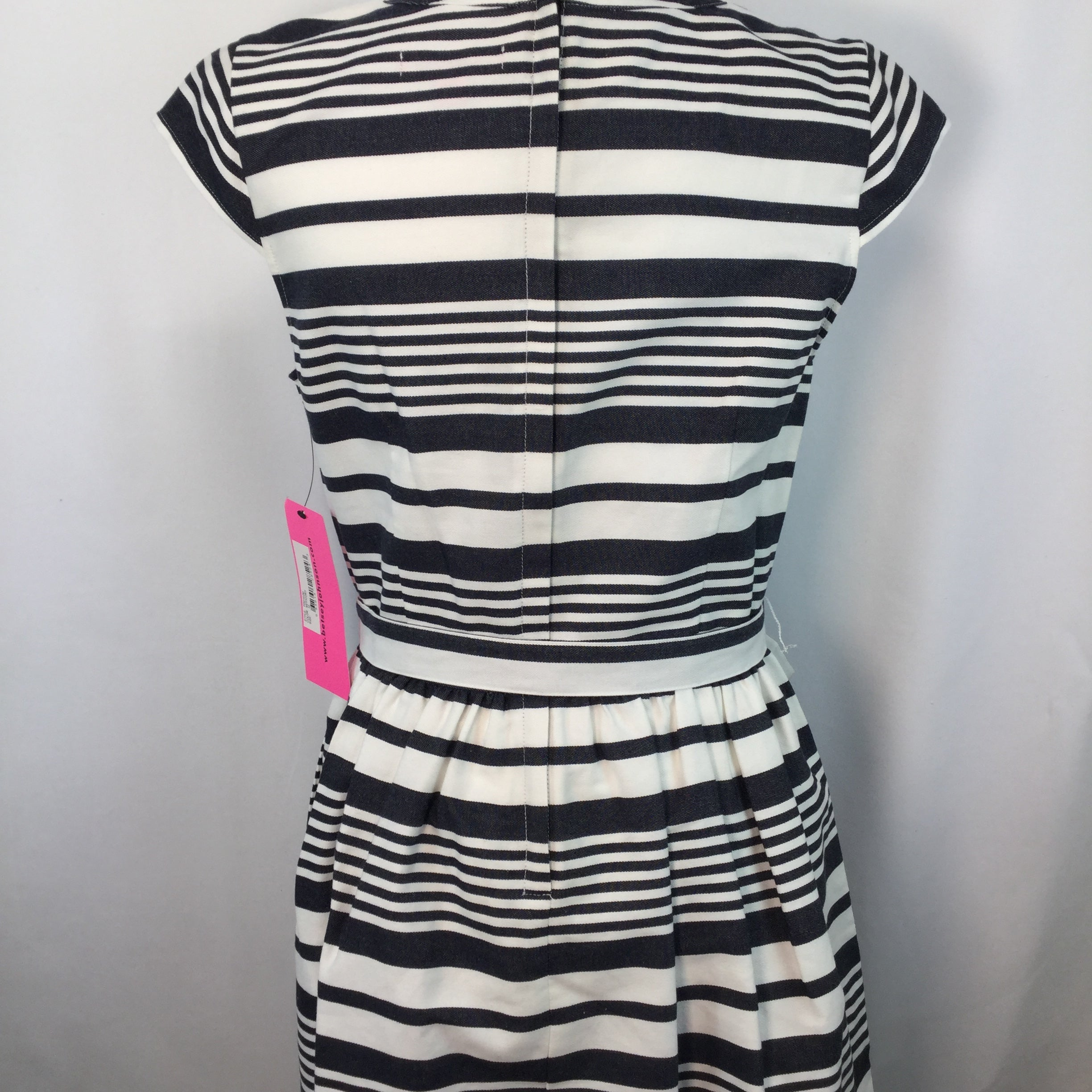 APPAREL,DRESSWEAR - WHITE WITH BLUE STRIPES, TIE WAIST, ZIP BACK, WITH POCKETS!