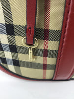 ACCESSORIES,PURSES AND HANDBAGS - HOUSE CHECK COTTON TWILL BAG WITH RICH BRIDLE LEATHER TRIM. -ZIP CLOSURE, ROLLED LEATHER HANDLES -DETACHABLE LEATHER SHOULDER STRAP BURBERRY SIGNATURE LOCK AND KEY AS NEW CONDITION