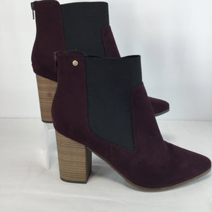 SHOES, - SUEDE MAROON ANKLE BOOTS.