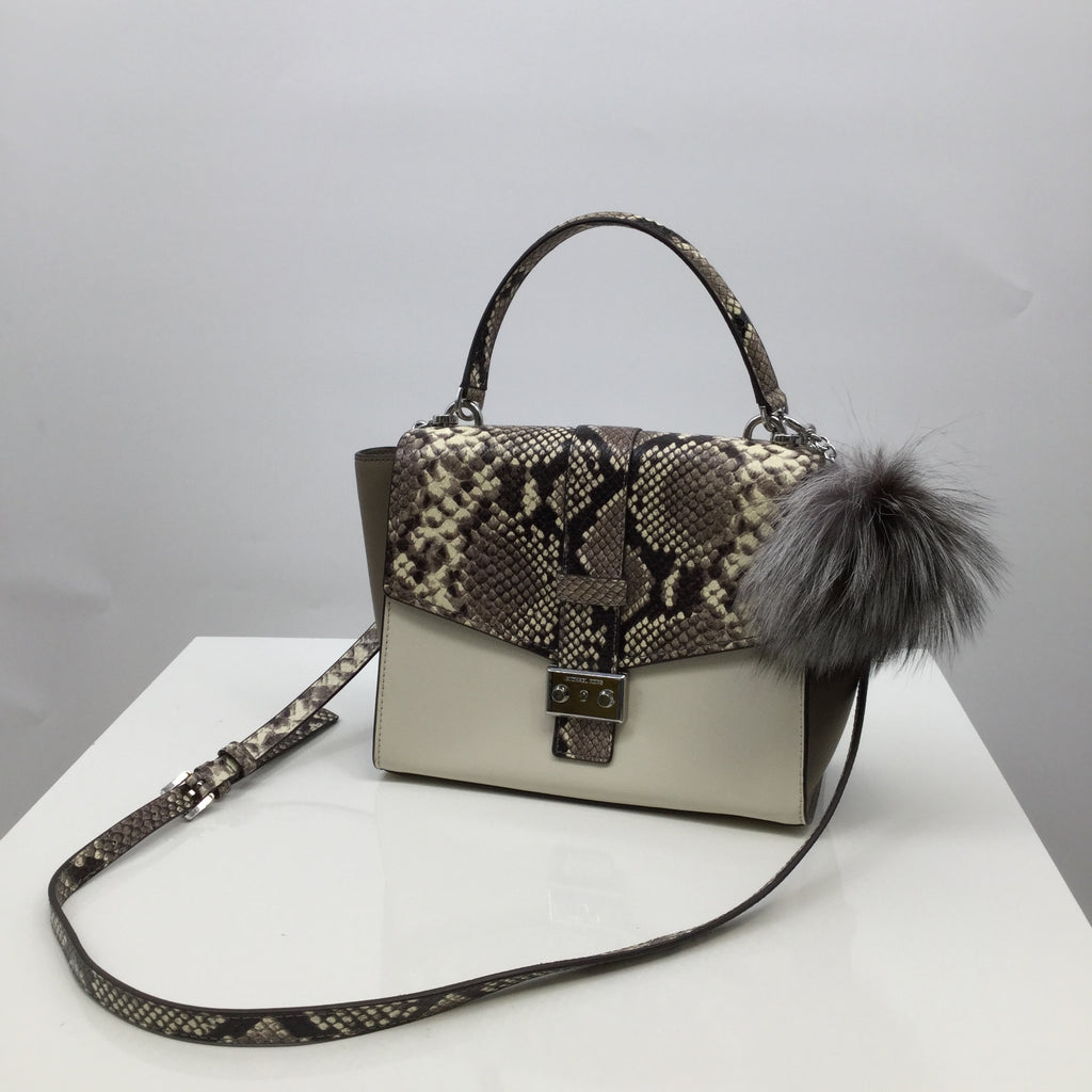 Michael Kors Handbag Designer, Leather, Snakeskin Print, Size: medium