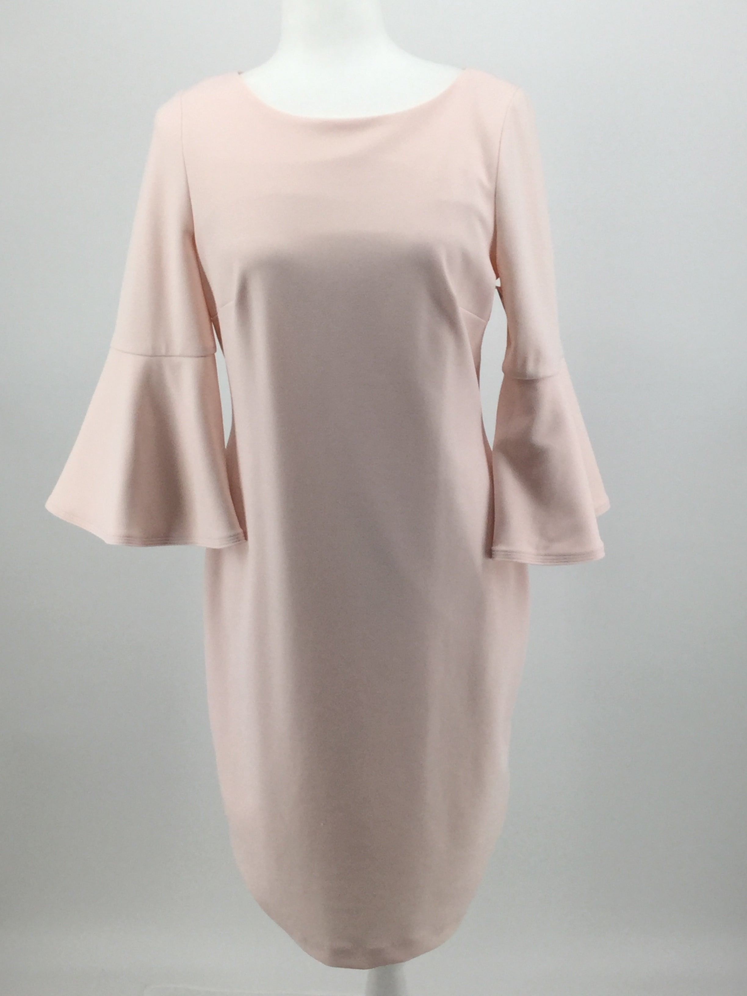 APPAREL,DRESSWEAR - BEAUTIFUL PASTEL PINK BELL SLEEVES ZIPS UP THE BACK KNEE LENGTH  VERY CLASSY.