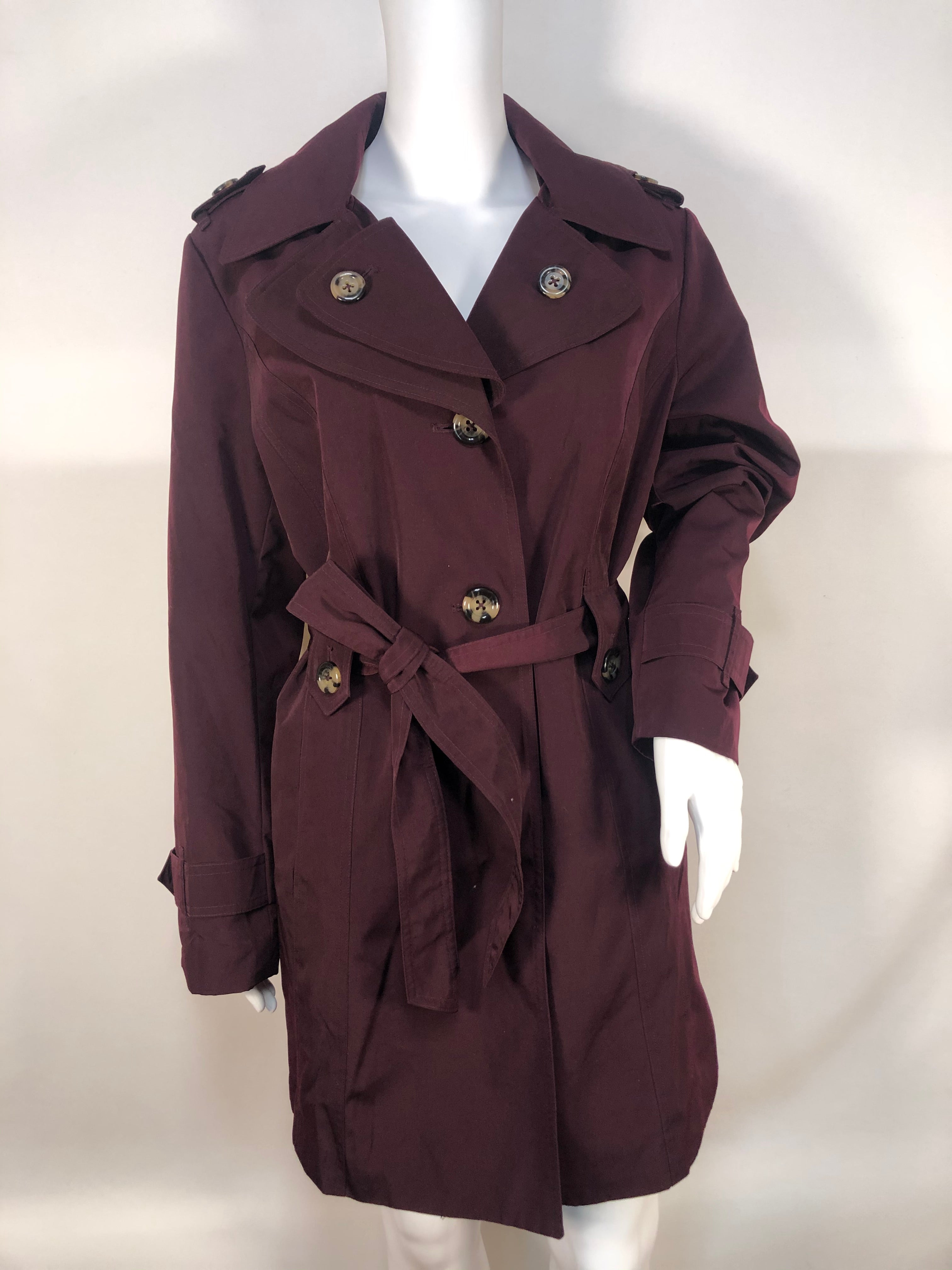London Fog Jacket Outdoor Size:L - GORGEOUS PLUM PURPLE TRENCH COAT WITH TORTOISE COLORED BUTTONS.