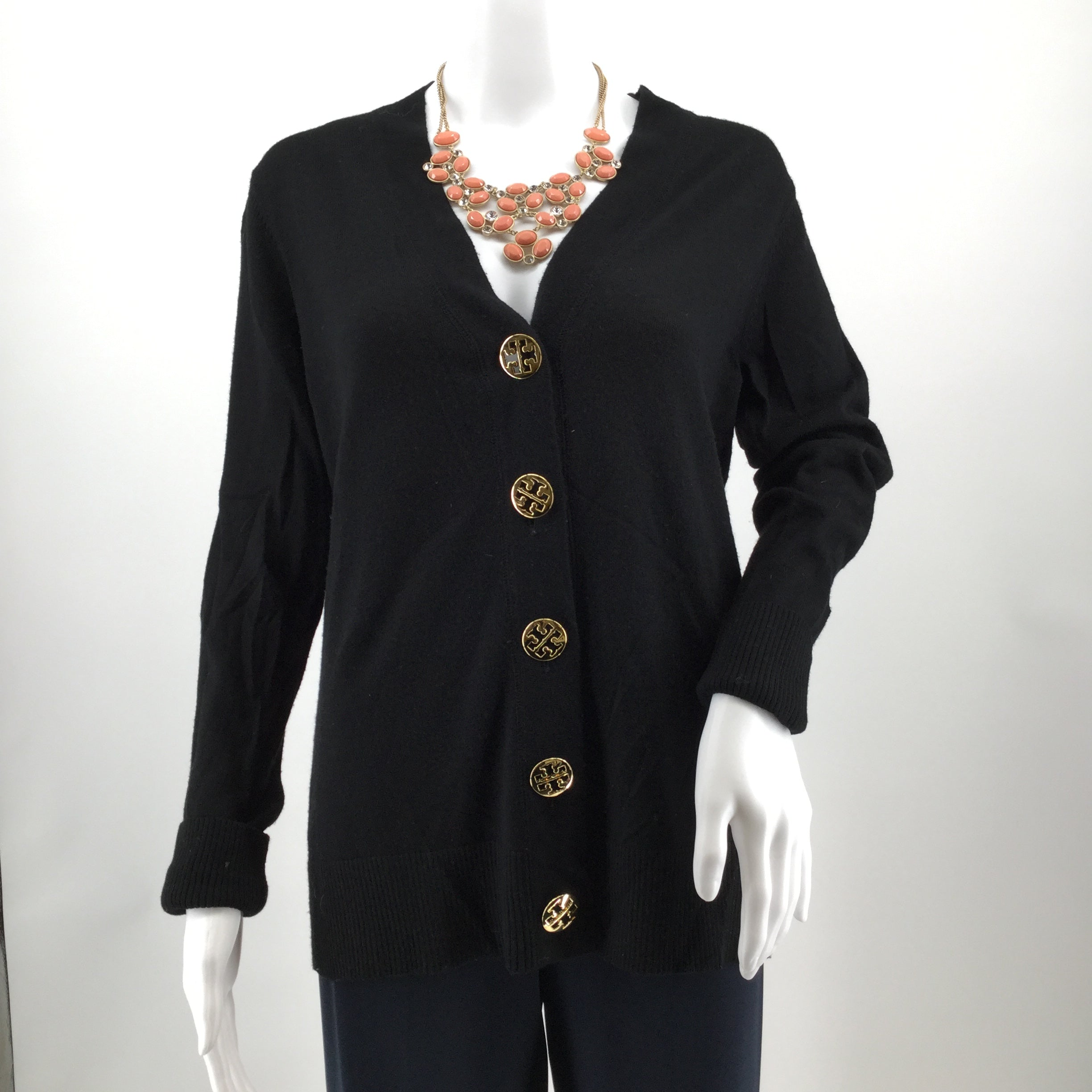 APPAREL,TOPS - 100% WOOL BLACK CARDIGAN SWEATER WITH 5 GOLD TB LOGO BUTTONS.