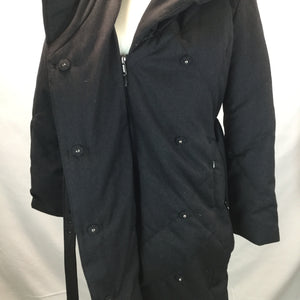 APPAREL,OUTERWEAR - GREAT CHARCOAL COLORED COAT. DOUBLE CLOSURE WITH A ZIPPER AND SNAPS. SIDE ZIPPERS TO EXTEND SIZE.