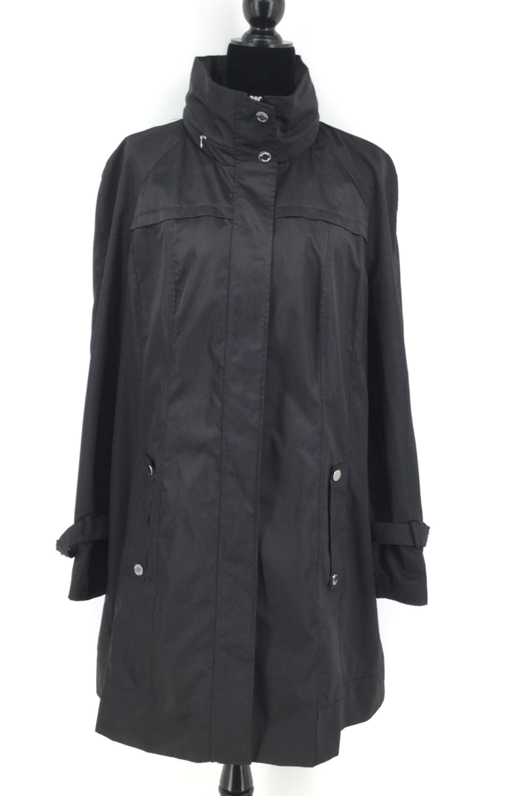 Long Black Calvin Klein Rain Jacket Size:XL