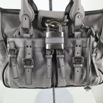 Chloe Handbag Designer Size:large - GREY LEATHER SHOULDER BAGSILVER HARDWARESIGNATURE CHLOE LOCK6 EXTERIOR POCKETS WITH BUCKLE DETAILS ON FRONTDOUBLE ZIPPER CLOSURE1 INTERIOR ZIP POCKET