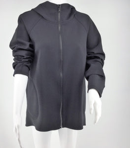 APPAREL,TOPS - LULU LEMON BLACK ATHLETIC JACKET WITH HOOD. ROOMY POCKETS LENGTH IS LONGER IN THE BACK. PERFECT CONDITION.