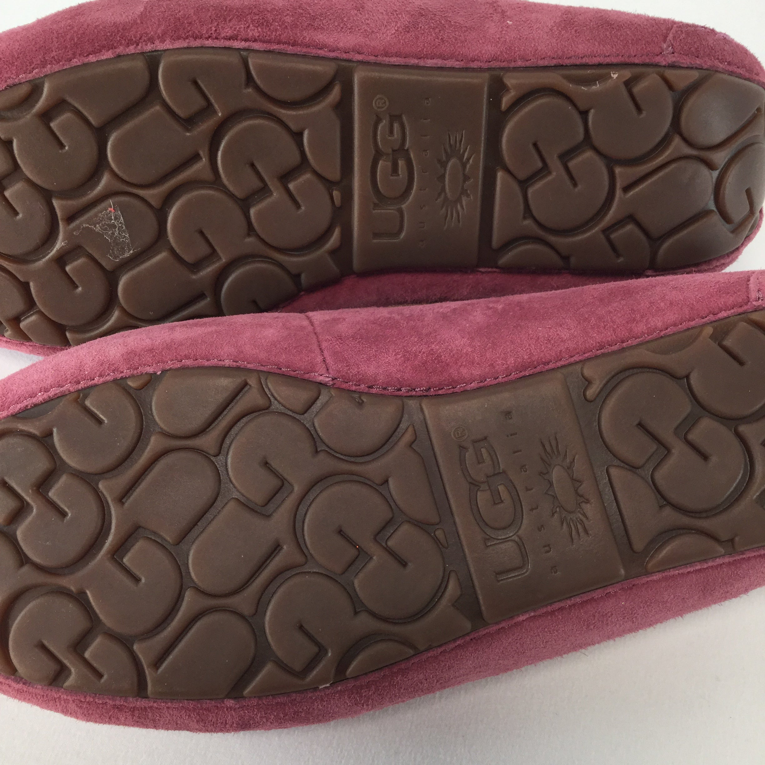 SHOES, - COMFY MOCCASINS PINK IN COLOR, BROWN TIE STRING AND THE FURRY INSIDE WE ALL LOVE.